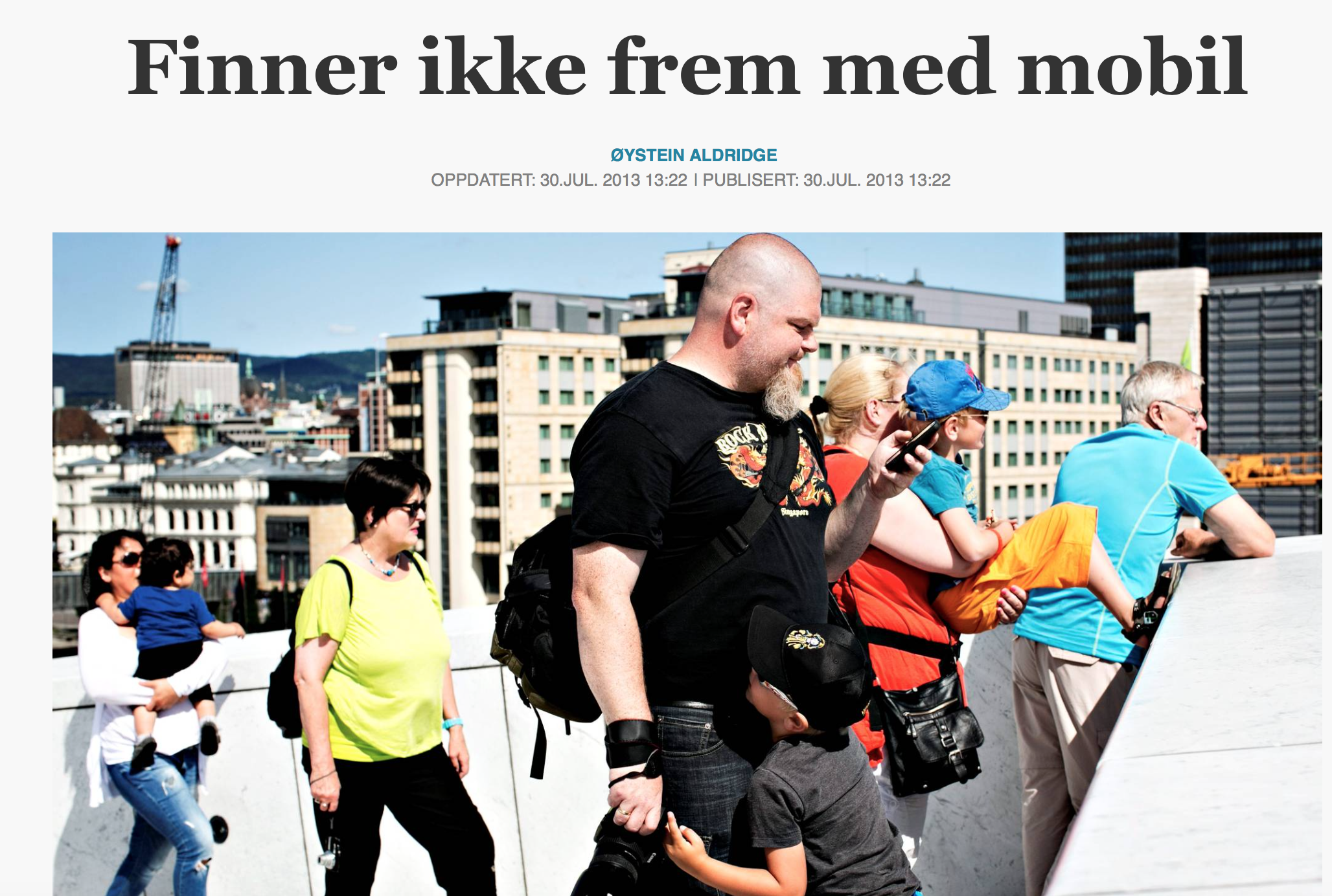 """Skjermbilde av Aftenpostens artikkel """"Finner ikke frem med mobil"""""""